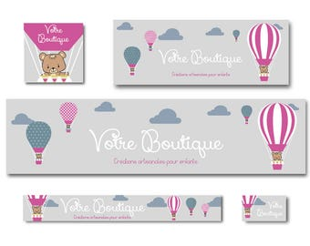 Facebook and Etsy banners for children, hot air balloon and bear shop