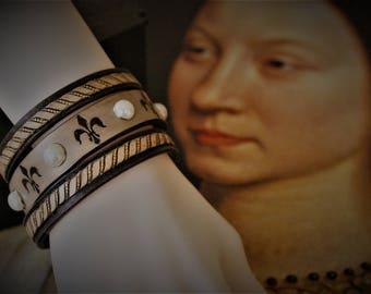 multi-row Bracelet cuff jewelry royal Renaissance fleur de lis leather embossed with pearls