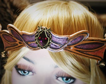 Tiara tiara Crown medieval fantasy fairy Pink Purple embossed leather