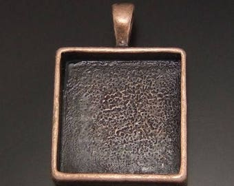 Medium antique copper cabochon square 20 x 20 mm