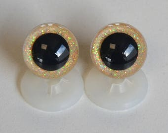 EYES secured * GLITTER * 18mm yellow clear for toy or stuffed animal
