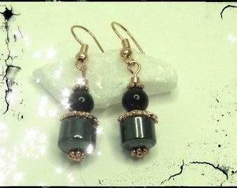 Dangle earrings with Hematite cylindrical stone