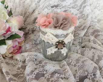 Free shipping! glass jar decorated shabby romantic