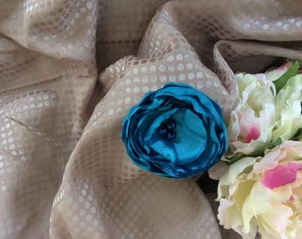 Flower 8 cm fabric blue satin with pearls