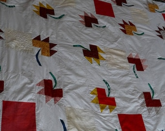 """Top bed, quilt, blanket, Patchwork folk """"tulips"""" games wall tapestry rug"""