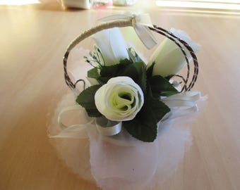 Table centerpiece, wedding, ivory and chocolate