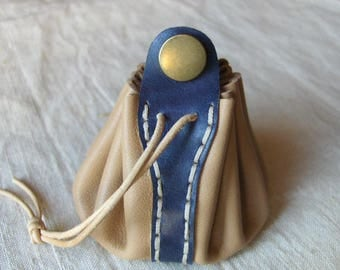 Coin purse is beige-blue leather hand stitched