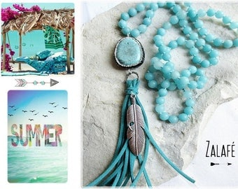 hippie chic necklace-bohemian jewelry-tibet-gemstones beads necklace-turquoise necklace-