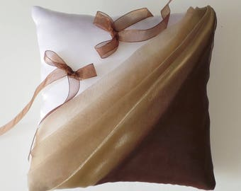 Chocolate/beige ring bearer pillow