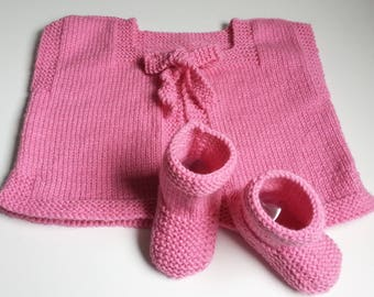 Shepherd vest & pink boots toes backed 3-6 months - together