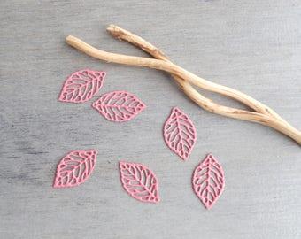 Set of 6 prints leaves filigree old pink