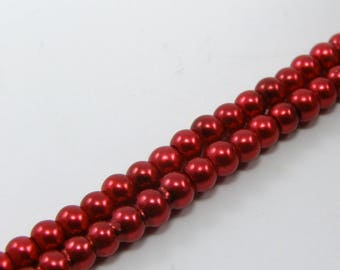 Carmine red glass Pearl set of 25 4 mm beads