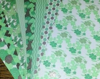 Lot de 8 feuilles de papier cartonné fantaisie avec paillettes dans les tons verts pour scrapobooking, carterie