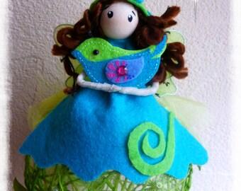 Fairy Elf with green and Blue Bird hanging fairy figurine customizable