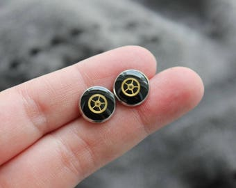 Round earrings 1 cm, metal, resin and watch parts