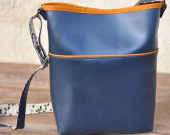 Metallic blue bucket double Twist Mustard handbag