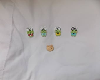 more style buttons in the shape of frog