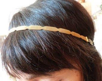 Original vintage headband, wedding headband knit scalloped