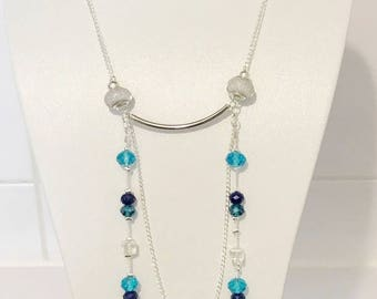 Set of necklace and earrings turquoise beads and silver chain