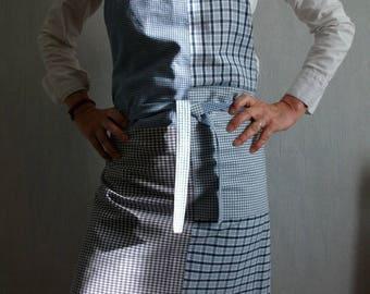 Unisex apron, blue, gingham and Plaid