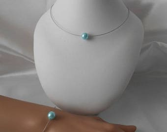 Set 2 wedding pieces LANA necklace & sky blue beaded bracelet