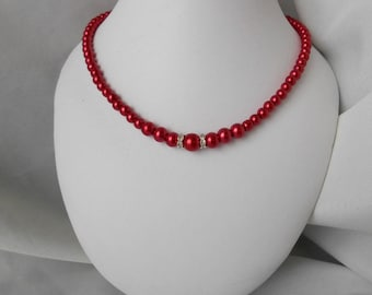 """CLHOE"" bridal necklace in red Pearl"