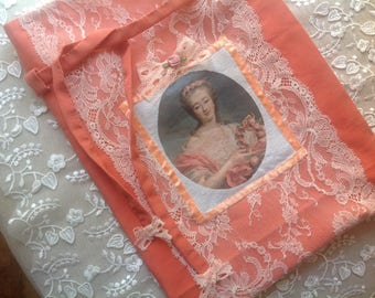 Large pouch coral silk and lace with lovely portrait of marquise lingerie