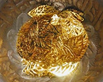 10 mini Golden filigree leaf charms