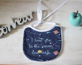 "Bib pattern constellations: ""I love you to the moon and back"""