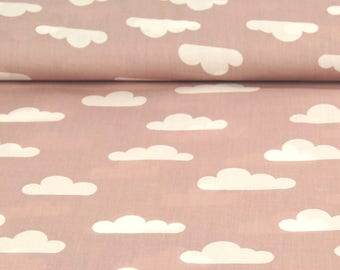 Printed Poplin / old pink cloud / cut 25cm