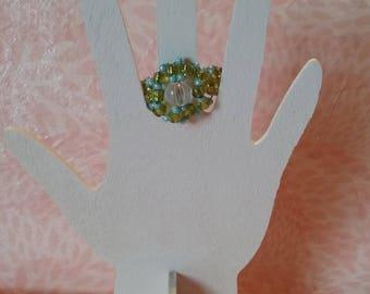 Ring beaded - lagoon bead