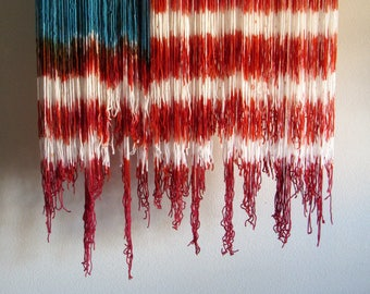 Old Glory American Flag Dip Dyed Wall Hanging || Fiber Wall Art || Dyed Tapestry