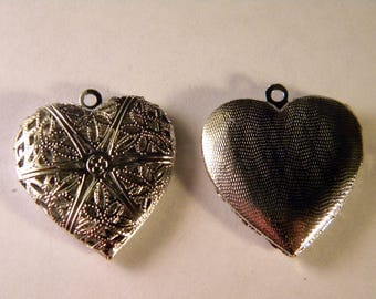 1 pendant charm holder picture-silver heart - 25 mm B020