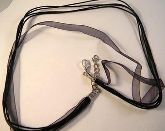 3 organza cotton waxed cord necklace Black Silver adjustable 43-48 cm
