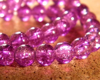 100 6 mm - dark purple - PE135 Crackle glass beads