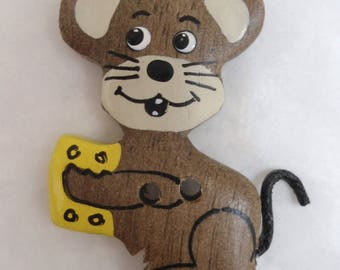 Wood mouse button two colors