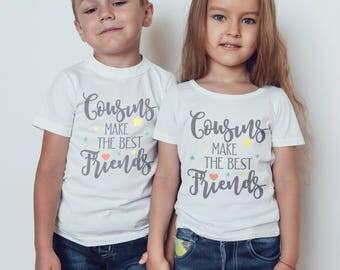 Kids  T-Shirt, cousins make the best friends Childrens Toddlers T Shirt Top.