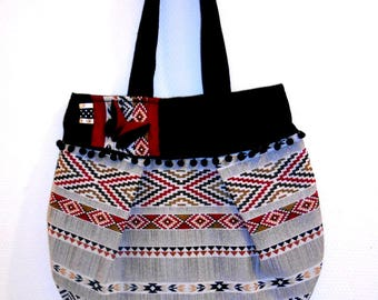 "Large handbag ""Ethnic Inca"" with butterfly origami and pocket inside"