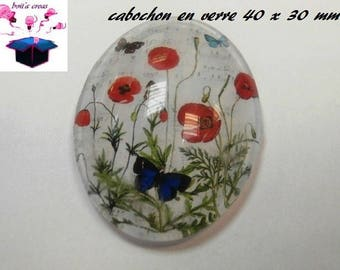 1 40x30mm poppy themed glass cabochon