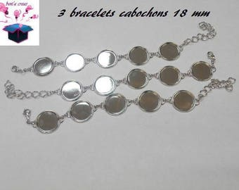 3 silver bracelets 5 slots for 18 mm cabochon