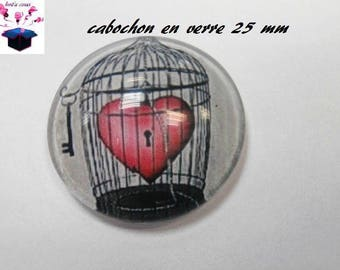 1 cabochon clear 25 mm round themed Valentine's day