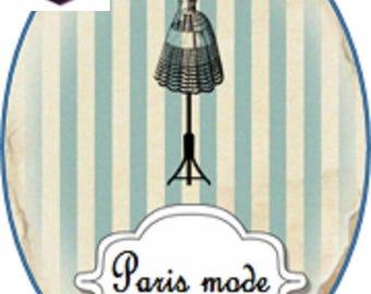 1 cabochon clear 18mm x 13mm Paris fashion theme