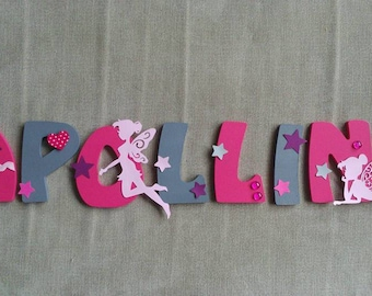 Kids name letter 8cm wooden - fairy/princess theme