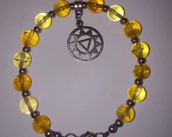 Solar Plexus Chakra Bracelet - Genuine Citrine - Manipura symbol - Handmade Reiki