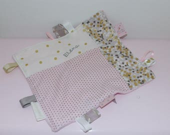Personalized pink and gold confetti taggy so soft!