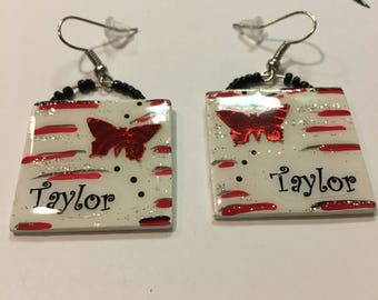 Personalized Red Butterfly Dangle Earrings
