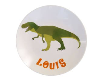 Plate porcelain child t-Rex dinosaur personalized - birthday gift birthstone