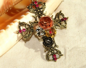 Bronze stylized color cross pendant with a rose and skull 40 mm