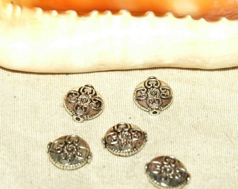Indian beads x 5 round filigree Tibetan silver nickel free