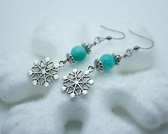 Amazonite and snowflakes gemstones earrings